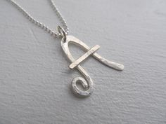 Initial necklace hand crafted letter necklace in sterling silver $45.00 by JoDeneMoneuseJewelry