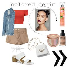 """""""Colored denim (Shorts)"""" by yumyv on Polyvore featuring moda, Alice + Olivia, Hollister Co., Tahari, Topshop, tarte y MAKE UP FOR EVER"""