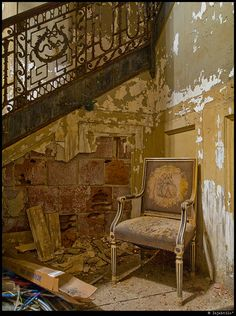 """Photo by injekt, via Flickr - another surviving chair at the long abandoned Steinert Hall underneath Boylston in downtown Boston."""