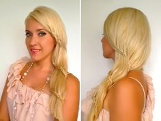 Romantic prom wedding hairstyles for long hair Side swept lace carousel braid tutorial