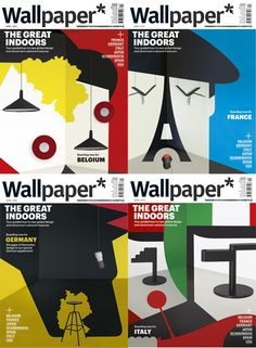 Wallpaper* covers by Noma Bar. Proud of my brother's design featured on the Italian cover