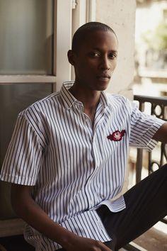 Les Deux Shirt - Vertical Stripes - White / Navy - Rose Patch Embroidery - lesdeux.dk
