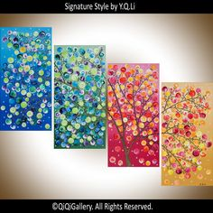 Original art Large Abstract Painting Landscape by QiQiGallery
