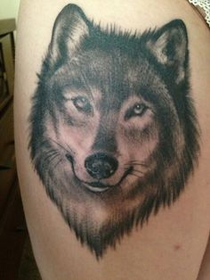Friendly wolf tattoo