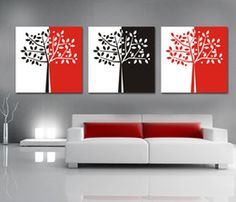 Red Wall Art, 3 Piece Wall Art, Tree Canvas, Canvas Wall Art, Three Canvas Painting, Colourful Living Room, Summer Painting, Modern Wall Art, Beautiful Paintings