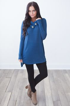 Magnolia Boutique Indianapolis - Button Detail Cowl Neck Tunic - Teal, $32.00 (http://www.indiefashionboutique.com/button-detail-cowl-neck-tunic-teal/)