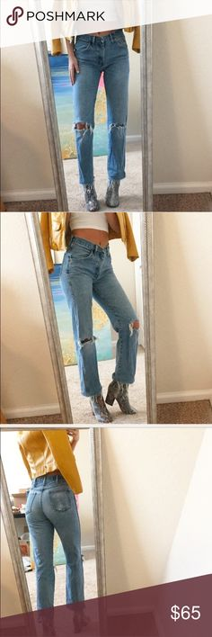 Vintage Denim 🍑 Perfect fit + natural distressing Super flattering stonewashed vintage denim. Size 29 waist, 28 inch inseam, 10.5 inch rise. Amazingly flattering fit on the butt and naturally worn in with distressing (holes) in both knees. One of a kind pair! Compare to: re/done, reformation, urban renewal, stone cold fox. ** brand listing for exposure, these are vintage jeans Reformation Jeans