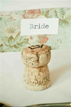 champagne corks as place tags