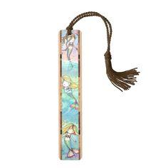 Cute Little Mermaids Watercolor Illustration Wood Bookmark
