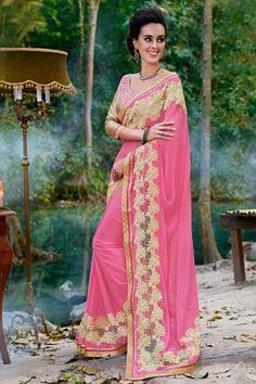 Elegant Chiffon Pink Partywear #Saree