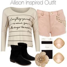 Allison Inspired Outfit by veterization on Polyvore featuring Firetrap, Miss Selfridge, Linea, Zara, Charlotte Russe, Wet Seal, women's clothing, women's fashion, women and female