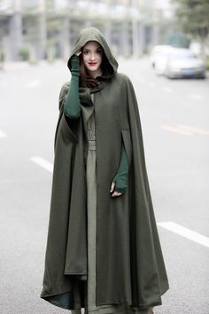 maxi hooded wool coat cloak, maxi cashmere cape, hooded cape, wool hooded cloak in green, black, grey, long wool jacket, coat dress, winter by camelliatune on Etsy https://www.etsy.com/nz/listing/467449458/maxi-hooded-wool-coat-cloak-maxi