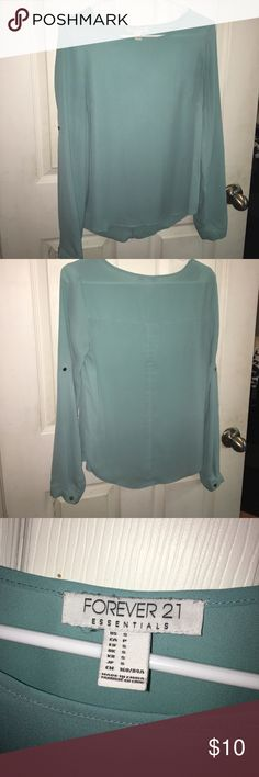 FOREVER 21 | Turquoise Satin Blouse Forever 21 turquoise satin blouse, excellent condition, size small, can be worn professionally or casually! Forever 21 Tops Blouses
