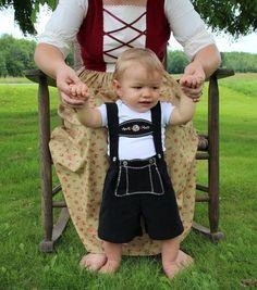Boy's Lederhosen w/ Onesie Size 9-12 Months -Ready to Ship