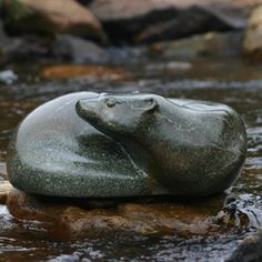 Soapstone River Otter Human Sculpture, Stone Sculptures, Rock Sculpture, Soapstone Carving, Animal Spirit Guides, River Otter, Inuit Art, Chainsaw Carvings, Art Themes