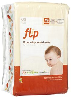 Planet Bambini  - Flip Disposable Inserts 18 pack, $5.95 (http://www.planetbambini.com/flip-disposable-inserts-18-pack/)    These work excellent for when we go to Disneyland. Still having the security of leakproof cloth diaper but the ease of not toting around dirty ones all day. Also come in handy when baby is sick or you're just a rad on the lazy side :)