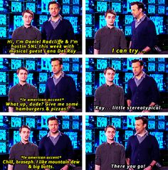 """Promo for Dan Radcliffe hosting SNL - """"Dan, can you do an American accent?"""" Who's going to tune in this Saturday night? Harry Potter Cast, Harry Potter Memes, Funny Quotes, Funny Memes, Hilarious, Funny Laugh, Jason Sudeikis, Daniel Radcliffe, Mischief Managed"""