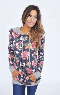 Navy Floral Sweatshirt - Dottie Couture Boutique