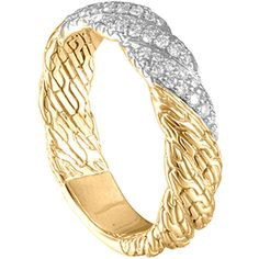 John Hardy Classic Chain Twisted 18k Diamond Band Ring (€1.665) ❤ liked on Polyvore featuring jewelry, rings, 18k diamond ring, chain ring, diamond rings, wide rings and pave diamond ring
