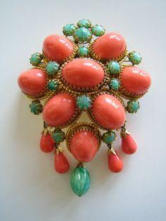 RESERVED Gargantuan Vintage Schreiner New York Domed Pin Brooch Pendant Coral Green Cabochons