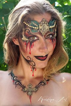Face painting, face art, make up scary beautiful. Ansiktsmålning, smink. kristinaart.se