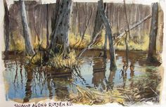 "Rutsen swamp, from ""Gouache in the Wild"" tutorial video by James Gurney, 5 x 8 inches."