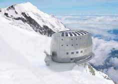 Mountain Climbers refuge on Mont Blanc, France. This building is designed to withstand winds, completely self sustainable and is built metres above the ground, from Iryna Places To Travel, Places To See, Travel Destinations, Hidden Places, Eco Construction, Construction Process, Environmental Architecture, Environmental Studies, Chamonix Mont Blanc