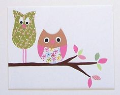 Best Friends, Nursery Wall Art Print, Owl, Tree, Summer from vtdesigns etsy shop