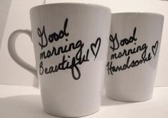 Coffee mugs in the kitchen for the Mr and Mrs.