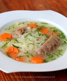 Beef soup with home made noodles. Romanian recipe