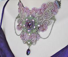 Purple Victorian Choker Venice Lace Choker Bridal by LaVieilleLune, $54.00