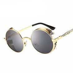 Round Flower Carving Sunglasses Eyewear Type: Sunglasses Style: Round Lenses Optical Attribute: Mirror Frame Material: Alloy Frame Color: Black, Silver, Gold Lens Width: 56 mm Lens Height: 44 mm Lense