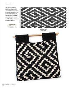 뜨개와수다의 만남   BAND Tapestry Crochet Patterns, Crochet Stitches Patterns, Purse Patterns, Crochet Clutch, Crochet Handbags, Crochet Bags, Crochet Shell Stitch, Crochet Chart, Tapestry Bag