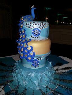 Peacock themed sweet 16 cake