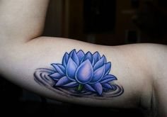 blue-lotus-tattoo  Blue lotus symbolizes enlightenment through knowledge and intellect.