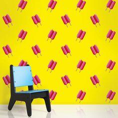 WallCandy Arts Twin Pops Yellow and Pink Wallpaper, available at #polkadotpeacock. #peacocklove #wallcandyarts #wallpaper #popsicles
