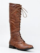 NEW Women Fashion Military Combat Lace Up Knee High Boot brown sz Tan outlaw13