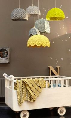 alice brans posted cute crochet lamp shades, cute for baby room. grey and white to their -crochet ideas and tips- postboard via the Juxtapost bookmarklet. Deco Kids, Room To Grow, Nursery Inspiration, Yarn Inspiration, Inspiration Design, Kid Spaces, Lampshades, Lampshade Ideas, Lamp Ideas