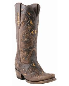 Lucchese Women's Studded Scarlet Cafe Brown Boot