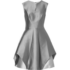 Halston Heritage Satin Dress ($600) ❤ liked on Polyvore featuring dresses, grey, grey cocktail dress, gray cocktail dress, fitted cocktail dresses, circle skirt and shiny dress