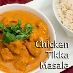 CHICKEN TIKKA MASALA -- A classic mild Indian curry! Chicken marinated in yogurt and spices then grilled on the BBQ tandoori style. Served in a tikka sauce or tomato, cream and spices.