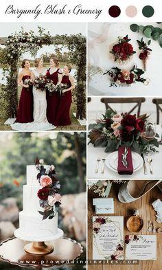 Burgundy Wedding Theme, Winter Wedding Colors, Winter Wedding Decorations, Wedding Color Schemes, October Wedding Colors, Wedding Colour Palettes, Burgendy Wedding, Wedding Colours, Spring Wedding Themes
