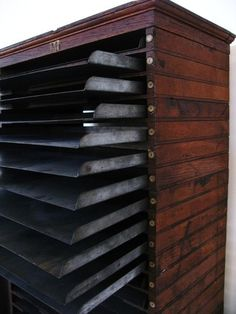 Vintage Industrial Steel and Wood Flat File Cabinet - Now *that's* what I call a flat file. Mmmm. #FlatFile #FileCabinet