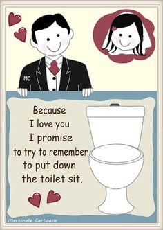 Funny Wedding Vows Put Down The Toilet Sit Ilrations By Martinela Cartoons