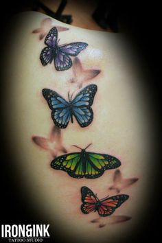Tattoo by Line Mariëlle Kloosterman at Iron & Ink Tattoo Studio in Vejle, Denmark #tattoo #tattoos #butterfly #beautiful #colorful