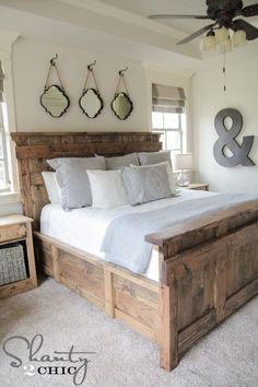 18 Rustic Master Bedroom Decor Ideas (that will invite you in A inspiring round up filled with gorgeous and trending ideas to decorate your bedroom. Check out these 18 Rustic Master Bedroom Decor Ideas. Furniture, Interior, Rustic Master Bedroom Decor, Bedroom Makeover, Home Bedroom, Home Decor, Remodel Bedroom, Bed Plans, Master Bedrooms Decor