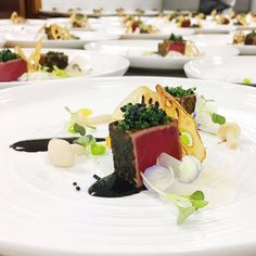 Inspirational  Plating up our exquisite starter Seared yellowfin tuna tataki black truffle hon