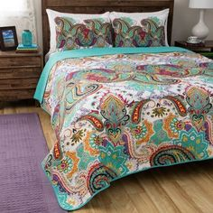 Greenland Home Nirvana Oversized Reversible Cotton Quilt Set (full/queen - Teal - 3 Piece), Green, Greenland Home Fashions Paisley Bedding, Paisley Quilt, Paisley Pattern, Quilt Pattern, Nirvana, Windsor, Bohemian Quilt, Bohemian Bedding Sets, Online Bedding Stores