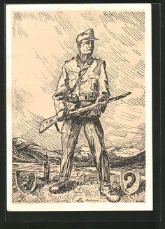 old postcard: Künstler-AK Infanterist in Uniform mit Gewehr, Wappen