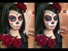 I want to try this for my Halloween costume!! Beautiful SUGAR SKULL Makeup Tutorial